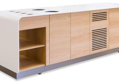 Rullebord i træ med indbyggede køle- og varmeplader